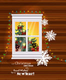 Christmas greeting card with snowy window in retro style. Royalty Free Stock Images
