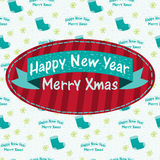 Christmas greeting card with a sock Royalty Free Stock Photo