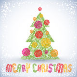 Christmas greeting card with special font and hand drawn lines  Stock Photo
