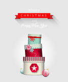 Christmas greeting card with stack of colorful Stock Photo