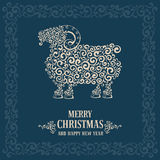Christmas greeting card. With stylized sheep, symbol of year 2015 royalty free illustration
