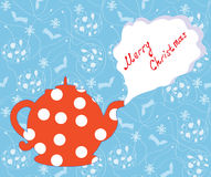 Christmas greeting card with tea pot and pattern Royalty Free Stock Photos