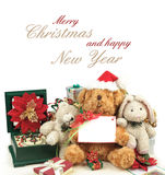 Christmas greeting card with teddy bear, gifts & friends Stock Photography