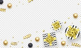 Christmas greeting card template backgorund of golden glitter confetti, gift box with gold ribbon bow for New Year winter holiday. royalty free illustration