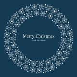 Merry Christmas snowflakes flat blue postcard. Christmas greeting card template / background flat design style for your graphics. Merry Christmas Royalty Free Stock Photo