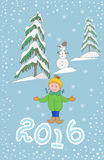 Christmas greeting card template, with child and snowman. 2016. Happy new year postcard design with girl enjoying the holiday. Winter snow with bokeh effect vector illustration