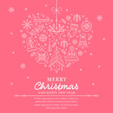 Christmas greeting card template - outlined heartshaped illustration royalty free illustration