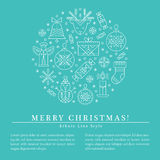 Christmas greeting card template with outlined signs forming a circle royalty free illustration