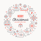 Christmas greeting card template with outlined signs forming a ring Royalty Free Stock Photos