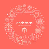 Christmas greeting card template with outlined signs forming a ring Royalty Free Stock Images