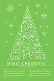 Christmas greeting card template with outlined signs forming a tree Stock Image