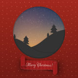 Christmas greeting Card template with red Ribbon. Christmas Night red paper greeting Card template with red Ribbon. Vector Illustration Stock Images