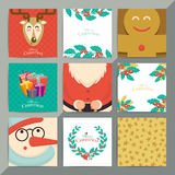 Christmas greeting card template set. Vector xmas invitation lay. Out design. Santa, reindeer, snowman and cookie with holly elements background Royalty Free Stock Photo