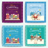 Christmas greeting card template set. Vector xmas invitation lay. Out design. Snowy cartoon town or village on christmas eve, with santa claus, deer and snowman Stock Photos