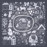 Christmas greeting card template, vector Merry Christmas. Winter holiday design, frame wreath design made of childish doodles: San. Ta, houses, deer, winter Royalty Free Stock Image