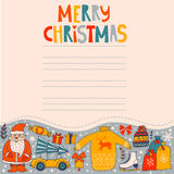 Christmas greeting card template, vector Merry Christmas. Winter holiday Stock Photography