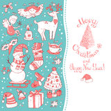 Christmas greeting card template, vector Merry . Winter Stock Photography