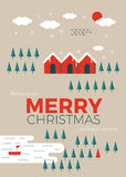 Christmas greeting card. Template in vintage minimal style Royalty Free Stock Images