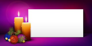 Christmas Greeting Card Template with White Paper Panel - Panora. Two Candles with White Panorama Paper Panel and Violet Background - Advent, Christmas Greeting stock illustration