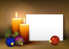 Christmas Greeting Card Template with White Paper Panel. Two Candles with White Paper Panel on Light Brown Background - Advent, Christmas Greeting Card Template stock illustration