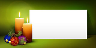 Christmas Greeting Card Template with White Paper Panel. Two Candles with White Panorama Paper Panel and Green Background - Advent, Christmas Greeting Card stock illustration