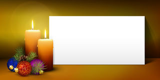 Christmas Greeting Card Template with White Paper Panel. Two Candles - White Panorama Paper Panel on Warm Colored Background - Advent, Christmas Greeting Card royalty free illustration
