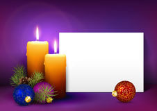 Christmas Greeting Card Template with White Paper Panel. Two Candles with White Paper Panel on Purple, Violet Background - Advent, Christmas Greeting Card royalty free illustration