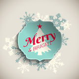 Christmas greeting card, text merry and bright with abstract snowflakes, illustration Stock Photos