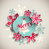 Christmas greeting card, text merry and bright royalty free illustration