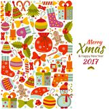 Christmas greeting card with text Merry Xmas and many winter doodle toys Royalty Free Stock Image