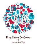 Christmas greeting card with text Merry Xmas and many winter doodle toys Royalty Free Stock Photo