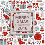 Christmas greeting card with text Merry Xmas and many winter doodle toys Stock Photo