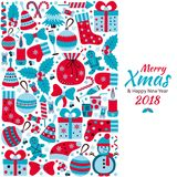 Christmas greeting card with text Merry Xmas and many winter doodle toys Royalty Free Stock Photography
