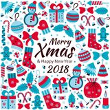 Christmas greeting card with text Merry Xmas and many winter doodle toys Stock Image