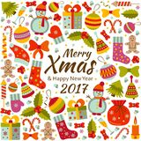 Christmas greeting card with text Merry Xmas and many winter doodle toys Royalty Free Stock Photos