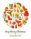 Christmas greeting card with text Merry Xmas and many winter doodle toys Royalty Free Stock Images