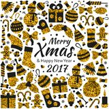 Christmas greeting card with text Merry Xmas and many winter golden toys. Vector illustration Royalty Free Stock Image