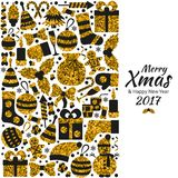 Christmas greeting card. With text Merry Xmas and many winter golden toys. Vector illustration Royalty Free Stock Photo