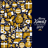 Christmas greeting card. With text Merry Xmas and many winter golden toys. Vector illustration Stock Photos