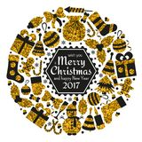 Christmas greeting card. With text Merry Xmas and many winter golden toys. Wreath shape. Vector illustration Stock Photography
