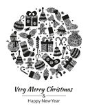 Christmas greeting card with text Very Merry Christmas and many winter silver toys. Round shape. Vector illustration royalty free stock photo