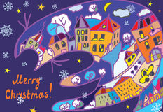 Christmas greeting card with town and cat Royalty Free Stock Images