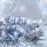 Christmas greeting card with toys and decorations, text space Stock Photography