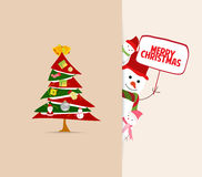 Christmas greeting card with tree decoration and snowman. Merry christmas background and greeting card design Stock Photography