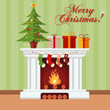 Christmas greeting card. Christmas tree, gifts and stockings on a fireplace. Xmas greeting card Royalty Free Stock Images