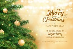 Christmas greeting card with tree and gold blur bokeh lights background. Xmas and happy new year. Vector illustration for. Cover, banner, template stock illustration