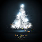 Christmas Greeting Card with Tree of Lights vector illustration