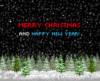 Christmas greeting card tree pixelart Stock Photography