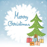 Christmas greeting card with tree and presents Stock Photos