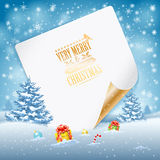 Christmas Greeting Card. With Trees, Candy, Gifts, Baubles and Sheet of Paper on Snowy background, vector illustration Stock Photos